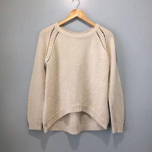 Retrod Cream-Coloured Knit Sweater Curved Hem